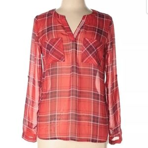 *SKIES ARE BLUE* ANTHROPOLOGIE RED Black plaid She